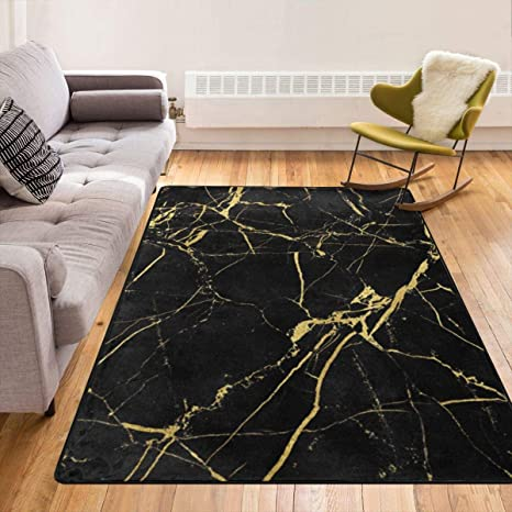 Black Gold Marble Modern Area Rug Bedroom Kasablaro Carpet Contemporary Rugs Office Area Rug Living Room Dining Area Rugs 84x60 Inch Kitchen Dining