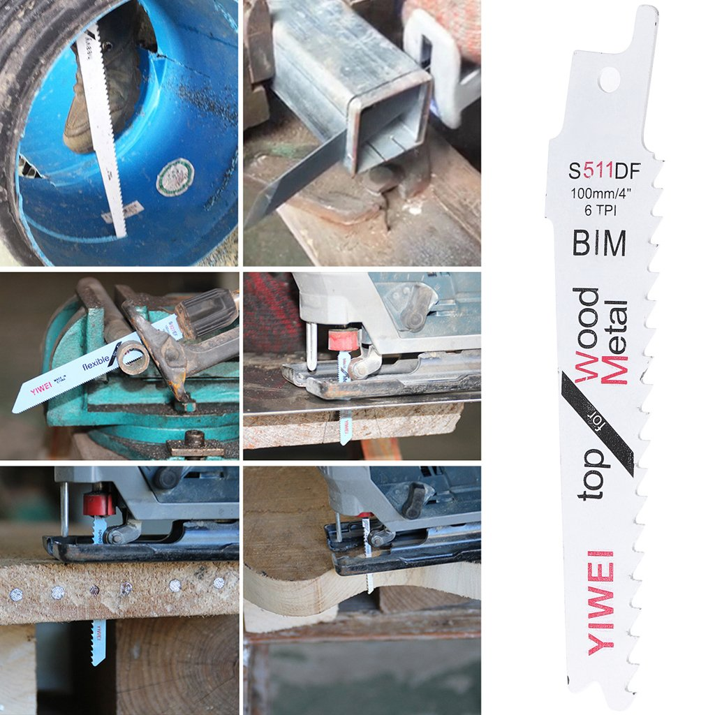 100/mm Pour coupe du bois et m/étal Lot de 5 lames souples BIM S511DF pour scie alternative KaiDeng