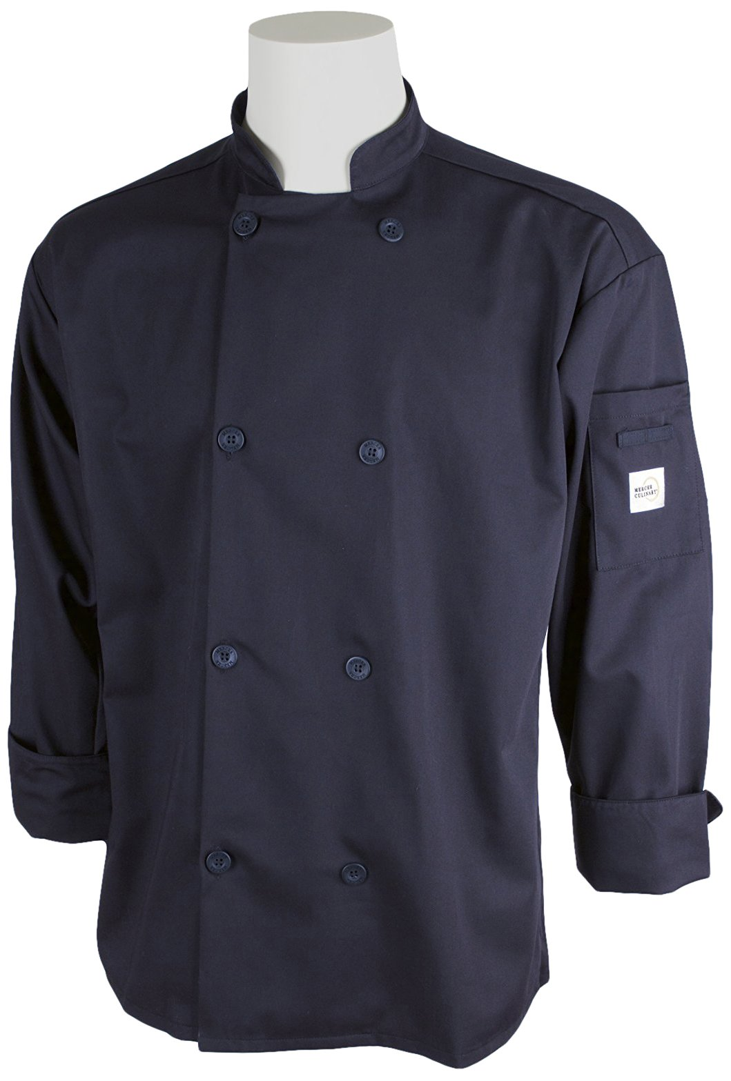 Mercer Culinary M60010NBXS Millennia Men's Cook Jacket with Traditional Buttons, X-Small, Navy Blue