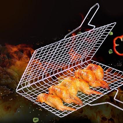 chuletas de camar/ón carne Cesta de barbacoa de acero inoxidable Cesta de parrilla port/átil con mango de madera extra/íble vegetales accesorio de barbacoa resistente trabajo para filete de pescado