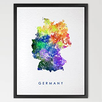 Map Of Germany To Print.Dignovel Studios 11x14 Germany Map Watercolor Illustrations Art Print Wedding Gift Wall Art