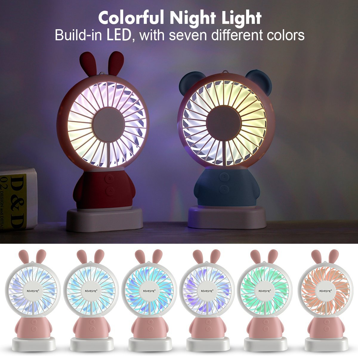 BONTIME Portable Fan - Mini Hand held Fan, Rechargeable USB Fan with Colorful Night Light, 2 Speeds, Cooling for Traveling, Fishing, Camping by BONTIME (Image #5)