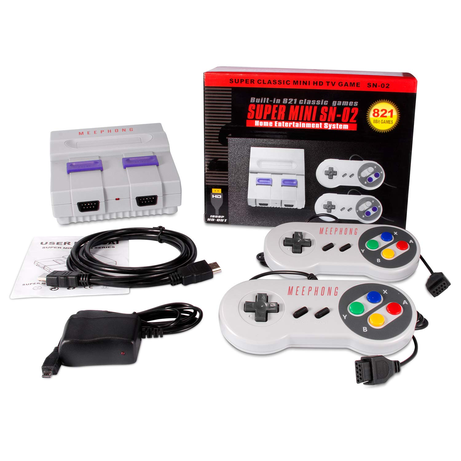 MEEPHONG Retro Game Console, HDMI HD Built-in 821 Classic Video Games by MEEPHONG (Image #6)