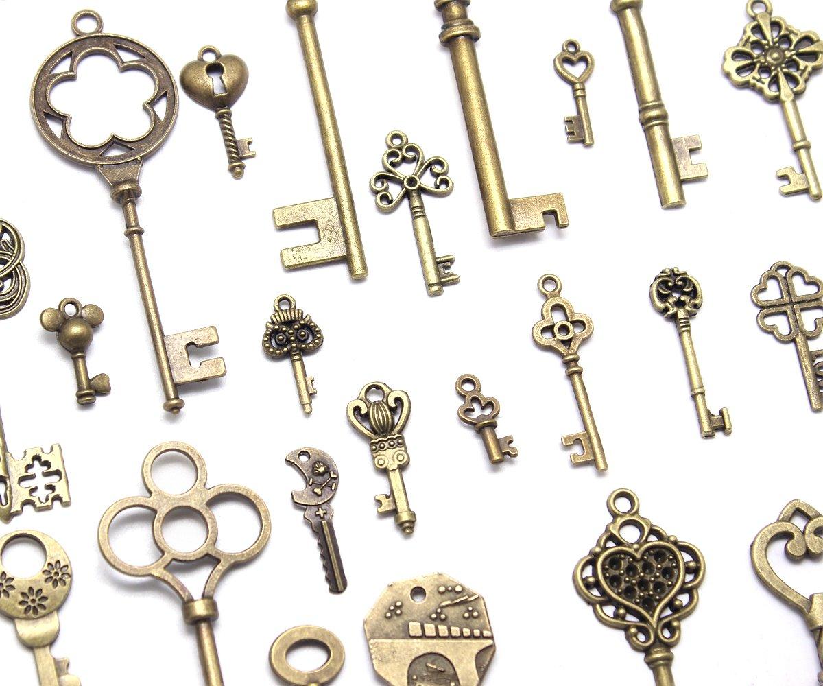 eee17c956ebe hysagtek 70 pcs Vintage de teclas de esqueleto antiguo llaves ...