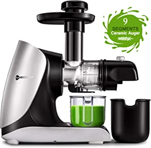 MEOMY Masticating Juicer Machines, Slow Cold Press Juicer with Ceramic Auger, 2-Modes High Yield Juice Extractor with Recipes for Fruits and Vegetables, Easy to Clean with Brush, BPA-Free