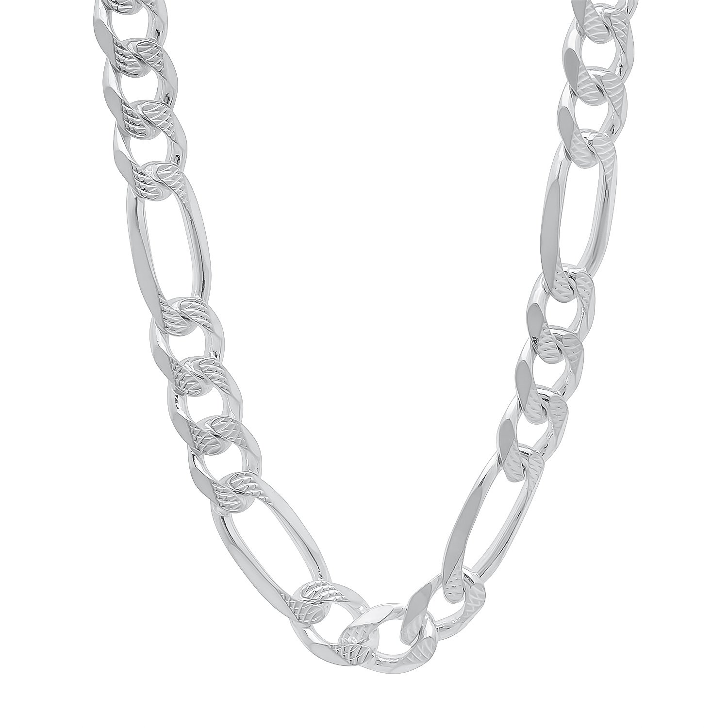 9.5mm 925 Sterling Silver Nickel-Free Diamond-Cut Figaro Link Italian Chain, 26'' + Cleaning Cloth