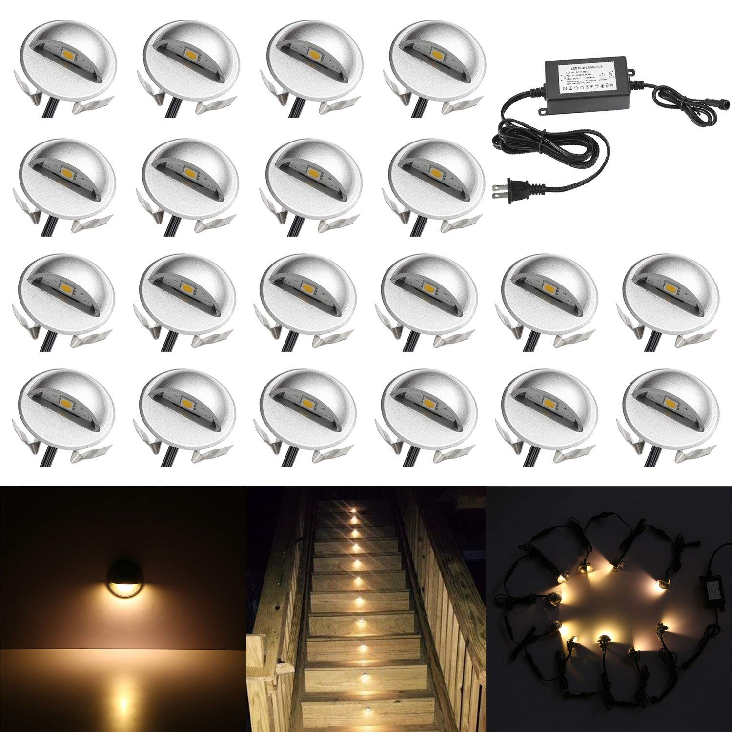 QACA 20 Pack LED Stair Lights Kit Low Voltage Landscape Lights Waterproof IP65 Outdoor 1-2/5'' Recessed Wood LED Deck Lighting Yard Garden Patio Step Landscape Pathway Decor Lamps, Warm White
