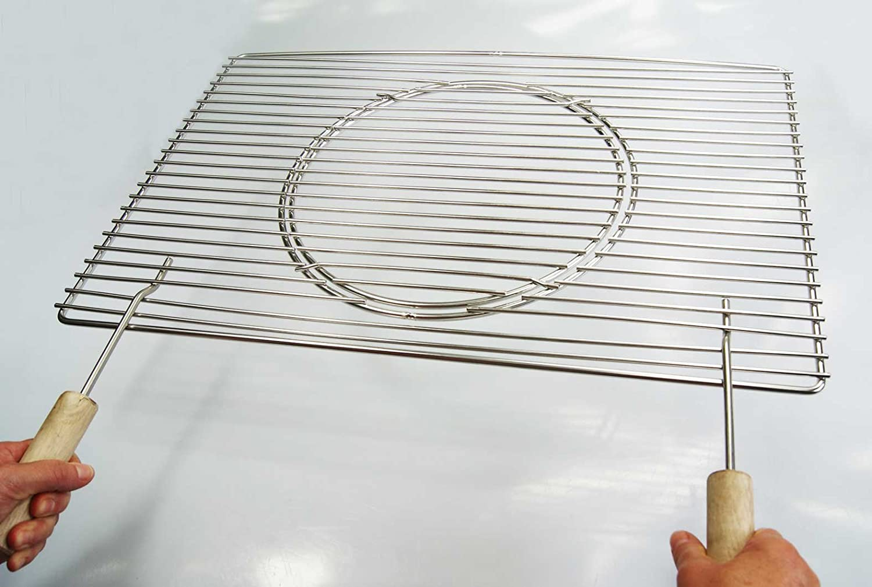 Edelstahl Grillrost 60 x 40 cm Expert + Griffe + Ø 29 cm herausnehmbaren runden Grillrost nur 12 mm Stababstand, Stäbe Ø 4mm !!!, stabil