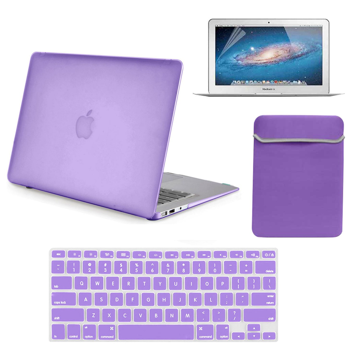 Lot 20 Rubberrized Hard Plastic Case Cover Sleeve Cover Keyboard Skin Screen Protector for MacBook Air 13'' A1369/A1466 - Purple
