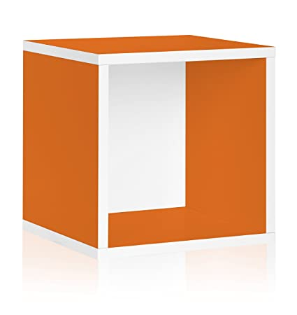 Bon Way Basics Stackable Vinyl Record Storage And Record Album Storage Cube,  Orange   Fits 65