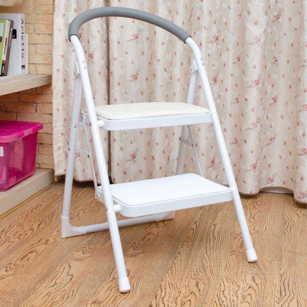 ハンドル付き屋内ステップ階段、レッドメタル2台の台所用寝室用スツール (色 : 白) B07FFVPQYF 白 白