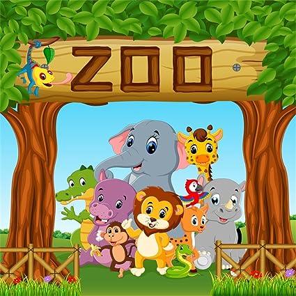 Amazon Com Ofila Zoo Animals Backdrop 5x5ft Kids Birthday Party