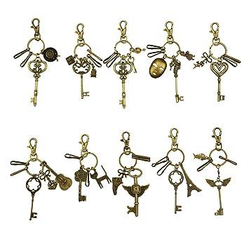 Llavero vintage de bronce con llavero, llavero retro, ganchos para llaves con llaves antiguas, colgante para llaves (10 unidades)