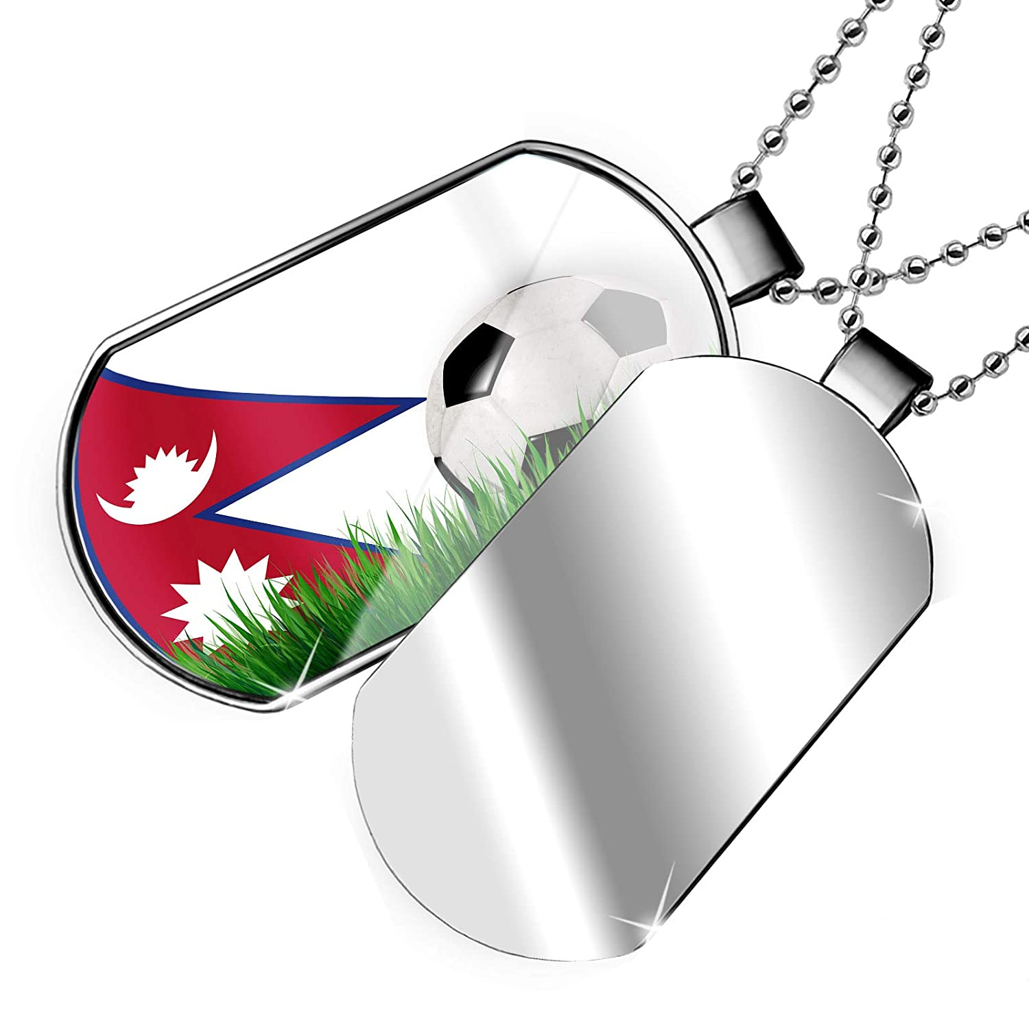 NEONBLOND Personalized Name Engraved Soccer Team Flag Nepal Dogtag Necklace