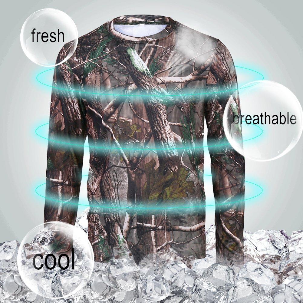 Zerone T-Shirts Camouflage en Coton /à Manches Longues et /à Manches Courtes Caract/éristiques T-Shirt Camouflage Woodland Camo