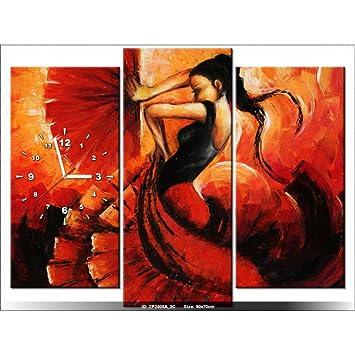 Art Gallery Xxl 90x70cm Flamenco Espagne Rouge Horloge