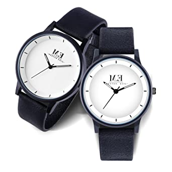 ca9ba6cb5e4ab Menton Ezil Simple Couples Gifts Watches White Dial Leather Band Quartz  Analog Wrist Watches for Her