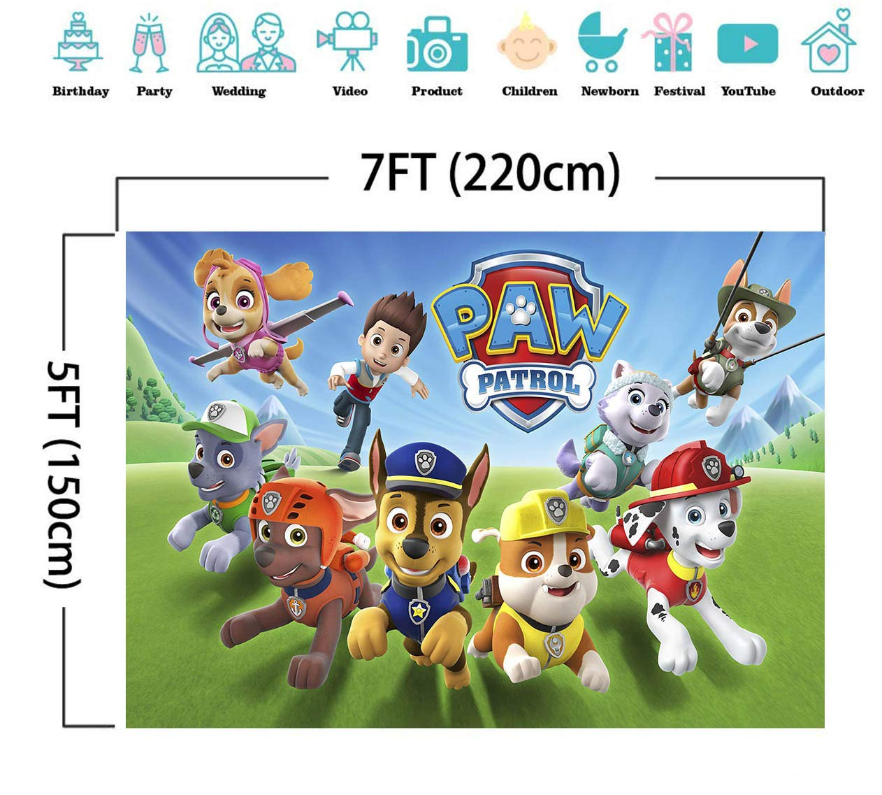 TJ 7X5FT Cartoon Paw Patrol Theme Photo Backdrops Kids Baby Shower Birthday Party Decotation Photography Background Cake Table Decor Banner Kids Studio Booth Props Vinyl by Tangjie (Image #5)