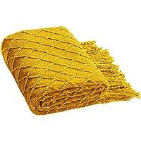 Happymore Manta de Tiro - Moda con borlas Manta de Tiro para sofá Cama Viaje Dormir Acrílico de Punto
