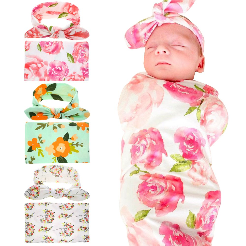 Babe Maps Floral Pattern Swaddling & Receiving Blanket, Newborn Sleep Blanket with Headband for Baby Girls