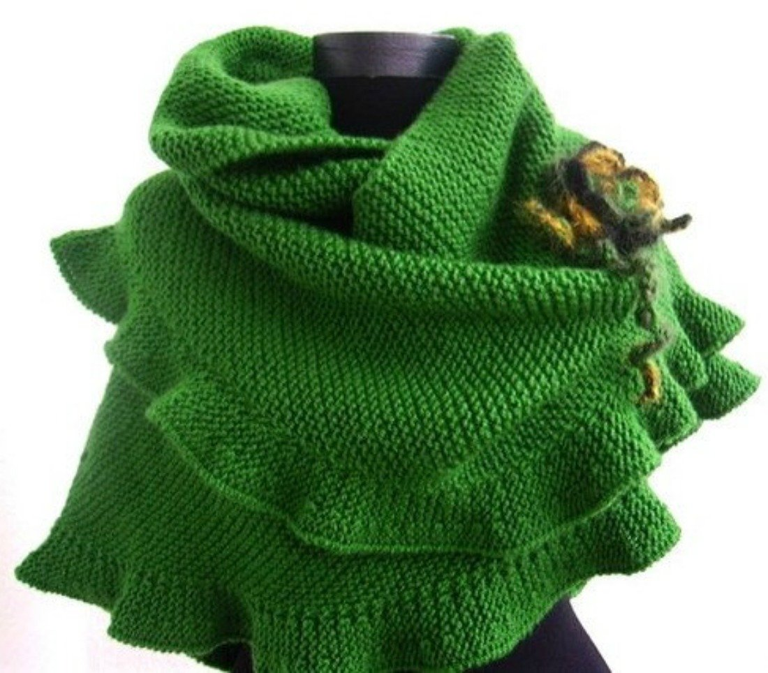 Green Ruffled Wool Shawl, Scarf with Removable Crochet Flower