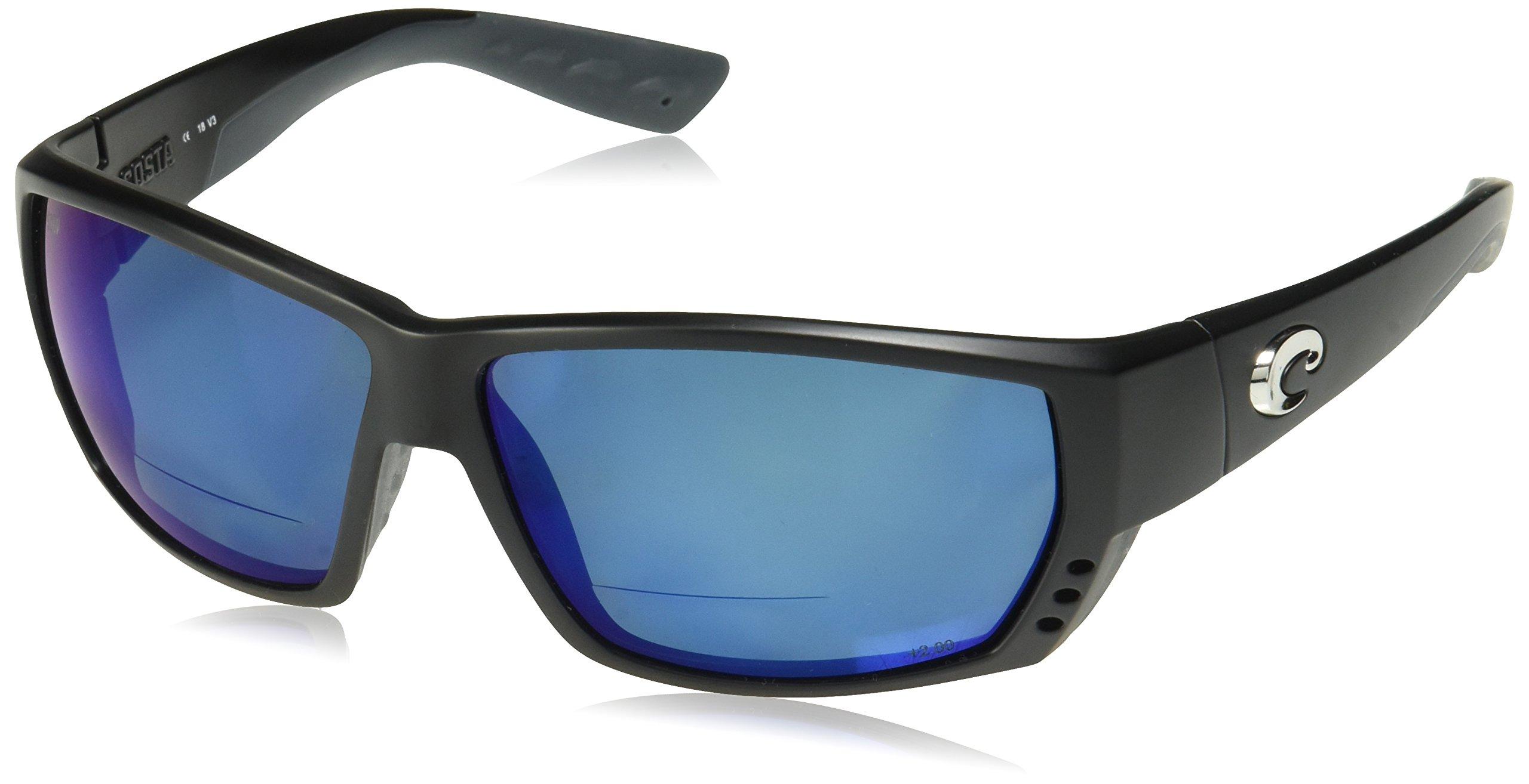 Costa Del Mar Tuna Alley C-Mate 1.50 Sunglasses, Matte Black, Blue Mirror 580P Lens by Costa Del Mar