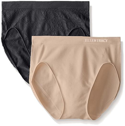 b47e0f13ce7c Amazon.com: Ellen Tracy Women's 2 Pack Floral Jacquard Hicut Panty: Clothing