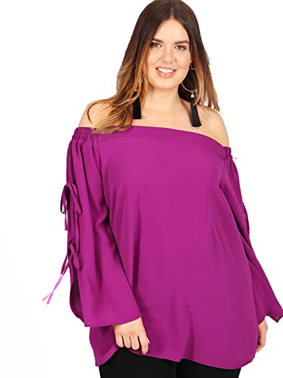 205850a10d8 Lovedrobe GB Women's Plus Size Purple Tie Sleeve Bardot Top: Amazon ...