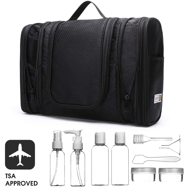 Narwey Travel Hanging Toiletry Bag Organizer Dopp Kit with Free TSA Approved Travel Bottle Set for Men and Women