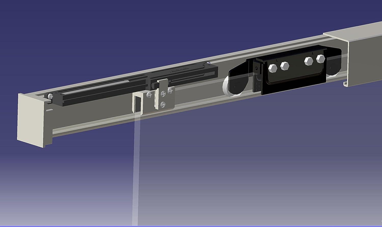 BM6-1025-420-AS Schiebet/ürsystem ESG 1025x2050x8mm Dekor M6 Siebdruck; Schienensystem ALU SlimLine SoftStop; Griffstange rund 420