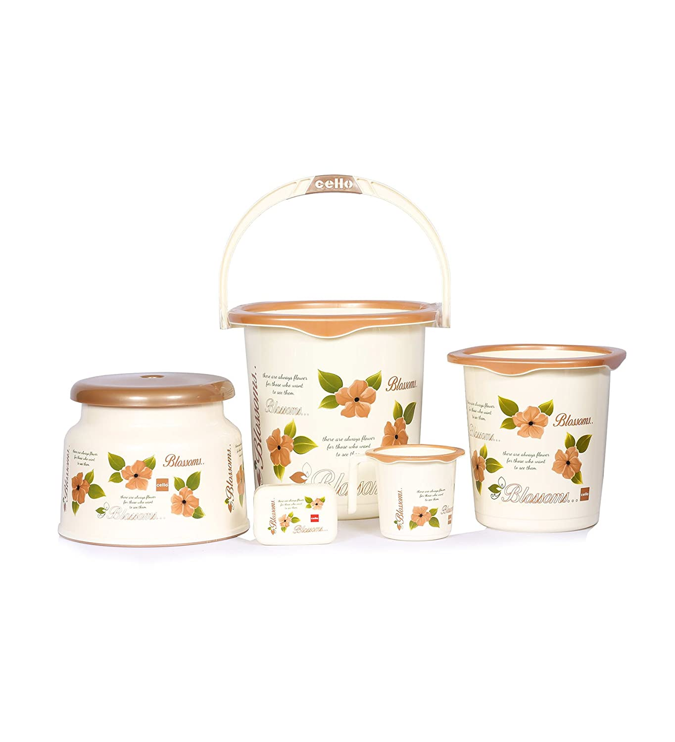 Cello Blossom 5 Piece Plastic Bath Set, Small, Brown