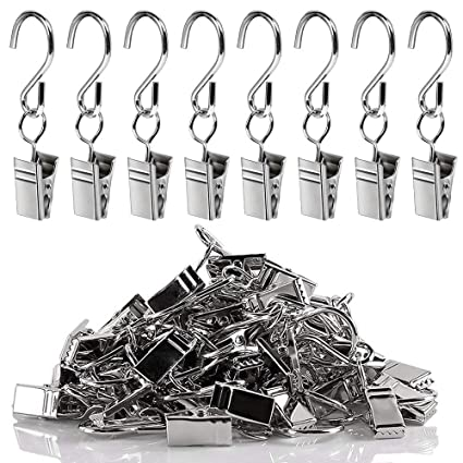 30pcs Stainless Steel Hanging Clips Portable S Hook Single Clip Hanger for String Lights Home Decoration Outdoor Activities Party Supplies Curtain Photos