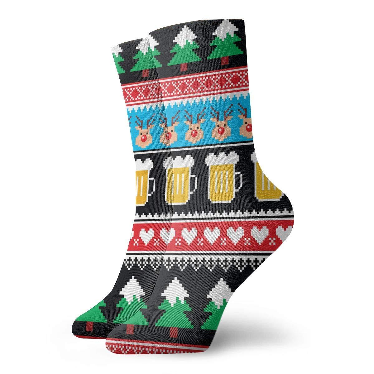 Women Men Christmas Beer Reindeer And Trees Pattern Cushion Crew Socks