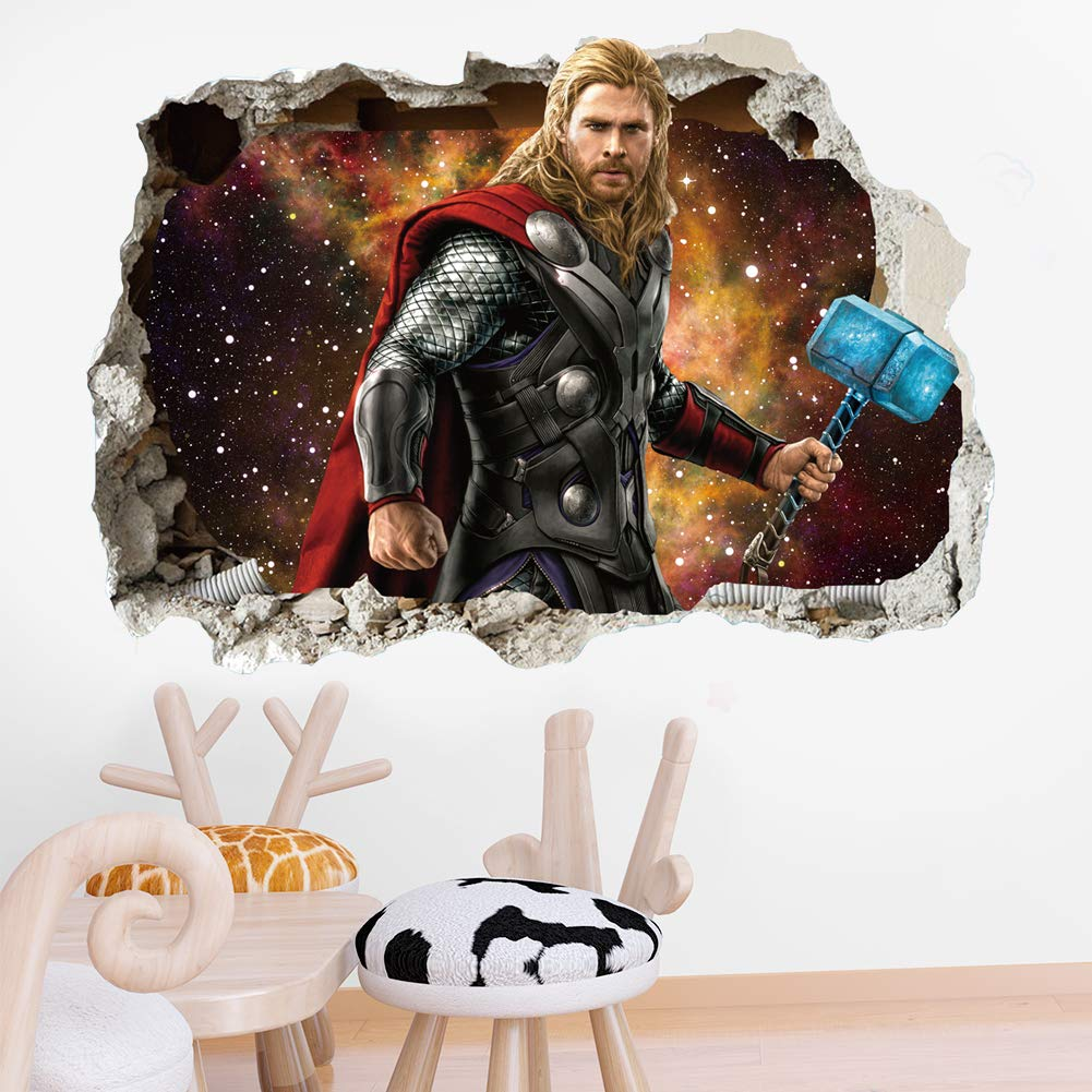 TE YANG 3D Marvel Thor Wall Stickers Vinyl Smashed Thor Wall Art Decal Stickers Adult Boys Girls' Favorite Bedroom Home Wall Decors(Size:15.7 x 23.7 inch )