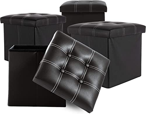 Homewell Storage Ottoman Faux Leather Foldable 13 Cube Foot Rest