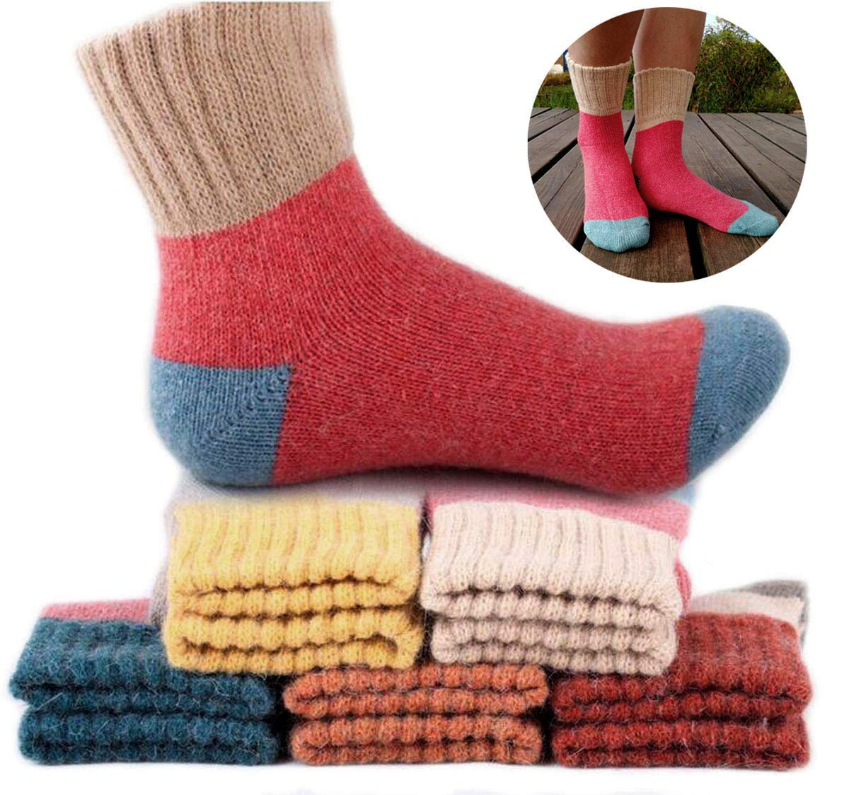 Yshare Women's Super Thick Crew Soft Wool Winter Comfortable Warm Socks (Pack of 5), One Size (5-9), Multicolor