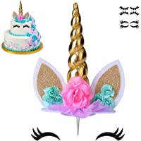coonoe, Unicorn Cake Topper,Handmade Party Cake Decoration Supplies with Eyelashes and stack,Reuasble Gold Horn for…