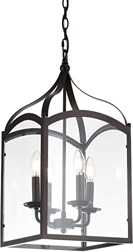 JONATHAN Y JYL7403A Ruth 11″ 4-Light Lantern Metal/Glass LED Pendant