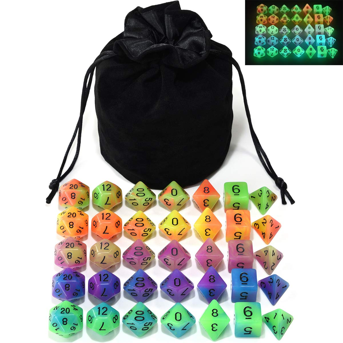 Double Color Glow in The Dark Dice Set 35 Pieces Polyhedral Dice for RPG DND MTG Games Include Black Velvet Pouch by IvyFieldDice