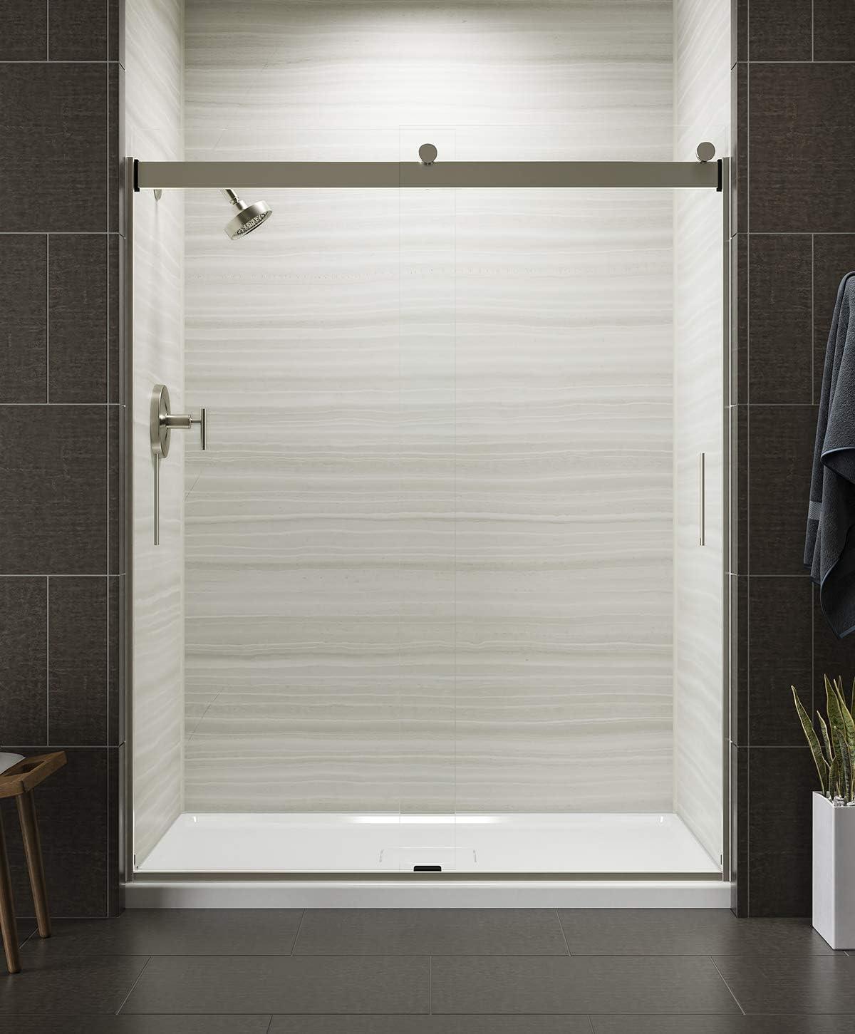 KOHLER K-706009-L-MX - Puerta de ducha corredera con mango niquelado mate y cristal transparente de 0,63 cm de grosor.: Amazon.es: Bricolaje y herramientas