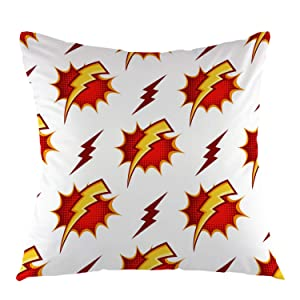 """oFloral Flash Thunder Throw Pillow Cover Cartoon Style Square Cushion Case Home Decorative for Sofa Couch Car Bedroom Living Room Decor 18"""" x 18"""" inch Red Yellow White"""