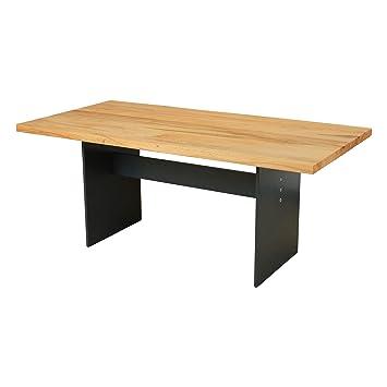 Esstisch Manhattan Eiche Massiv 200 X 100 Cm Designer Tisch Massivholz Mit Rohstahl Tischgestell Holztisch Metall Stahl Premium Esstisch Design