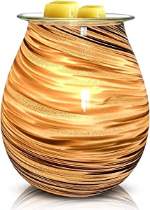 PUSEAYZ Scented Wax Warmer Art Glass Electric Wax Burner Candle Melter Night Light for Gifts&Decor, Home, Office, Bedroom Living Room (Gold)