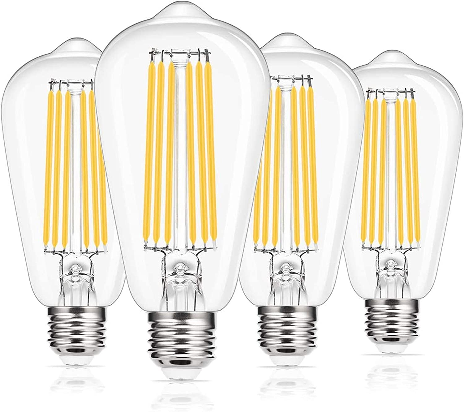 Vintage Led Edison Bulb, DORESshop ST64 Filament LED Light Bulb, E26 Base, 15W(150W Equivalent), 1800LM, Warm White 2700K, Clear Glass Light Bulb for Home, Office, Non-dimmable, 4 Pack