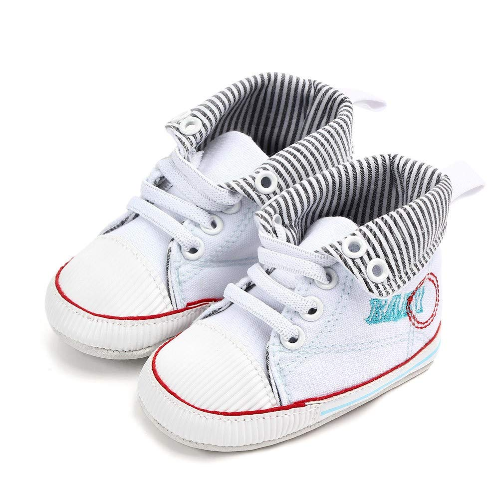Super X Newborn Cuffed Striped Letters Toddler Baby Girls Boys Canvas Anti-Slip First Walkers Soft Sole Shoes