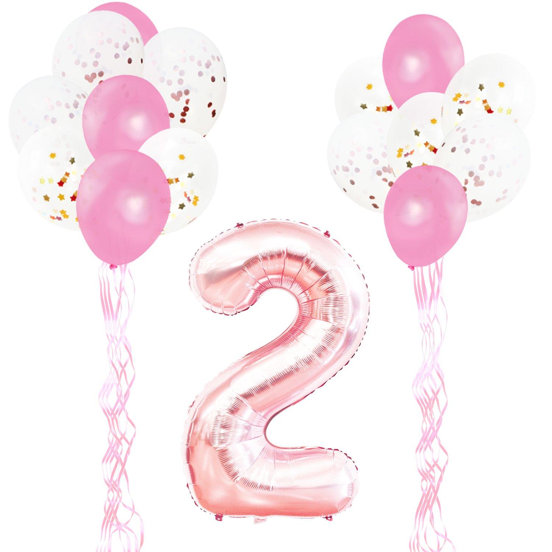KUNGYO Decoraciones de Fiesta de Cumpleaños para Adultos y Niños, Oro Rosa Gigante Número 2 y Estrella de Helio Globos, Cintas, Globos de Confeti de ...