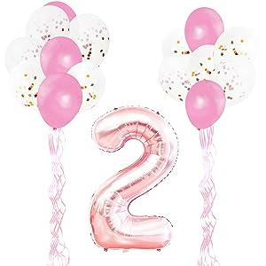 KUNGYO Decoraciones de Fiesta de Cumpleaños para Adultos y Niños, Oro Rosa Gigante Número 2 y Estrella de Helio Globos, Cintas, Globos de Confeti de Látex- Rose Gold Suministros de Fiesta