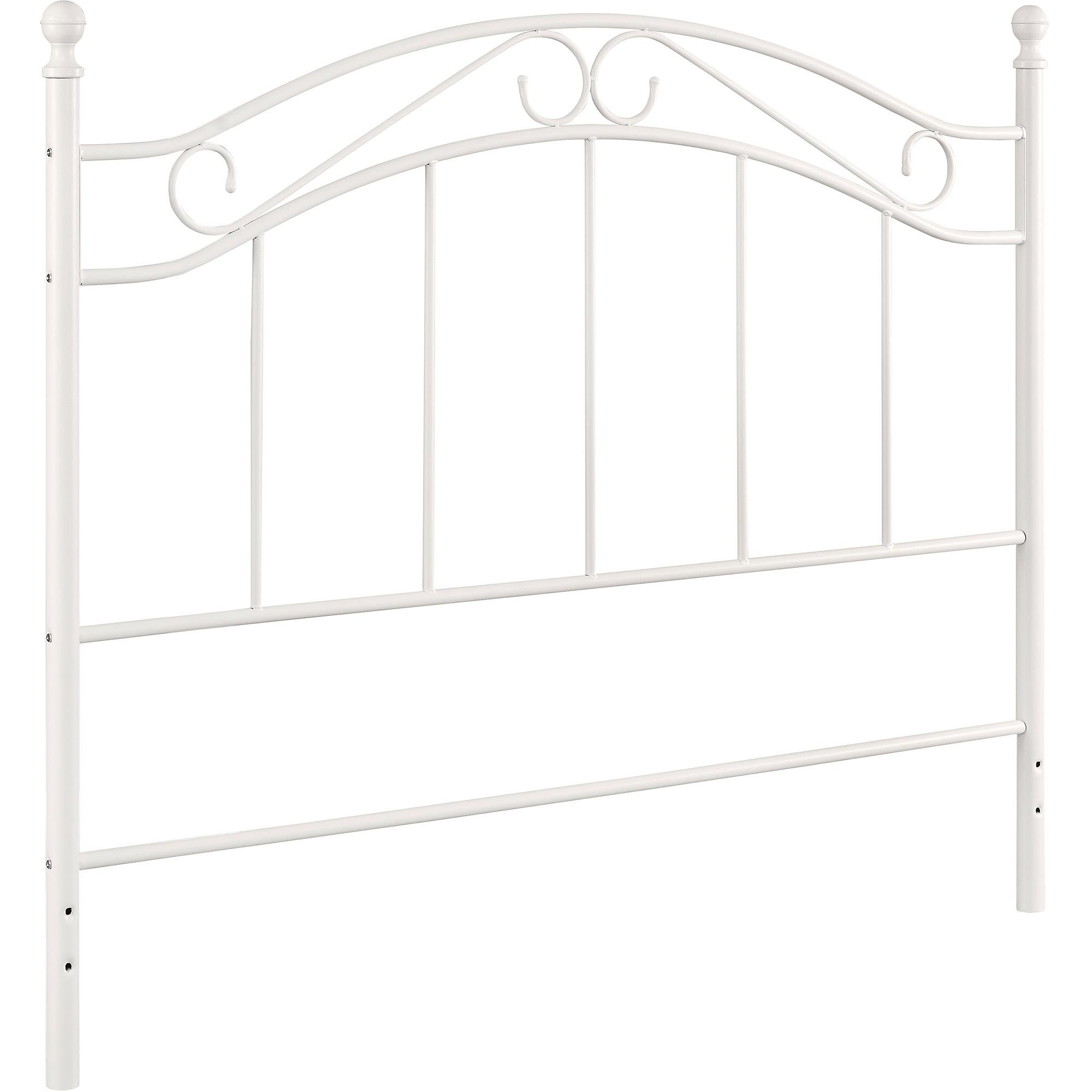White Metal Headboard Queen Full Size (White)