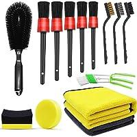 Kit de 15 herramientas de limpieza de coche actualizado con cepillo para detalles de coche, para limpieza de ruedas…