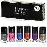 BMC 6pc Metallic Color Nail Stamping Lacquers - Creative Art Polish Collection, Set 3